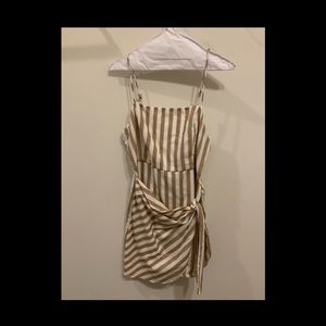 linen striped wrap dress